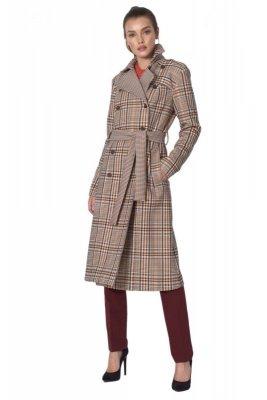 Dwurzędowy płaszcz z paskiem w beżową kratę - PL10