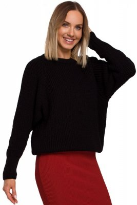M537 Sweter prążek pod szyję - czarny