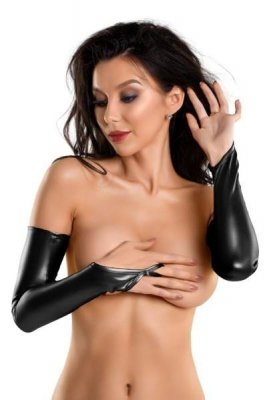Glossy Wetlook gloves KELLY