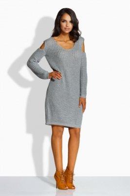 LS189   Fantazyjny sweterek sukienka z wycięciami na ramionach jasnoszary