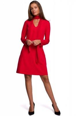 S233 Sukienka z szyfonowym szalem - czerwona