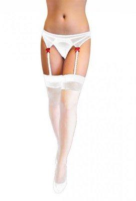 Stockings and Belt 5546 white pończochy z pasem