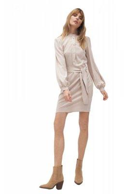 Beżowa sukienka na stójce  - S177