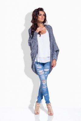 1 LS170 Melanżowy sweterek narzutka czarny PROMO