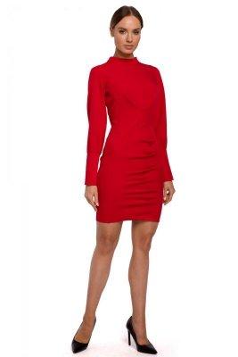 M546 Sukienka mini ze stójką - czerwona