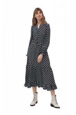 Długa sukienka w grochy - S168