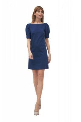 Kobaltowa sukienka z bufiastymi rękawami - S166