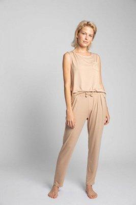 LA025 Spodnie do spania z wąskimi nogawkami - cappuccino