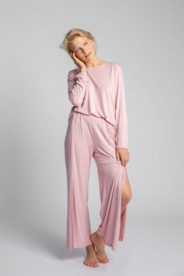 LA026 Spodnie z rozcięciami na nogawkach - różowy