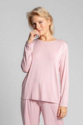 LA027 Bluzka do spania z wycięciem na plecach - różowy