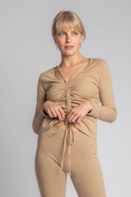 LA038 Bawełniana bluzka z szianiny prążkowanej - cappuccino