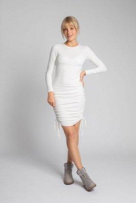 LA039 Bawełniana sukienka z szianiny prążkowanej - ecru