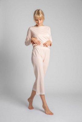 LA041 Spodnie z koronkowym brzegiem - brzoskwiniowy