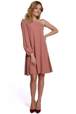 K081 Sukienka na jedno ramię - różana