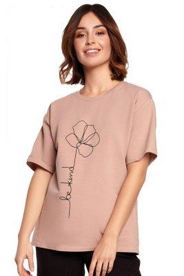 B187 T-shirt z nadrukiem - mocca