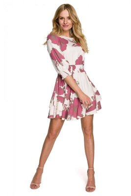 K097 Sukienka mini z wysokim pasem - model 2