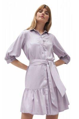 Wiskozowa sukienka z falbaną w kolorze liliowym - S179