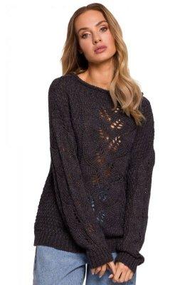 M600 Sweter z ażurowym wzorem - grafit