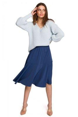 S261 Spódnica z falbaną - niebieska