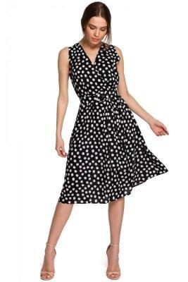 S264 Sukienka bez rękawów z paskiem - czarna