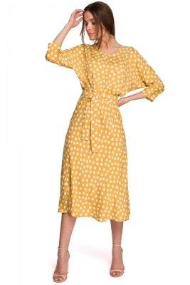 S265 Sukienka midi z kimonowymi rękawami - żółta
