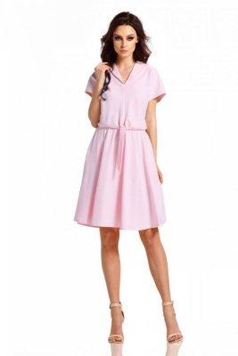 Sukienka dresowa L293 pudrowy róż PROMO
