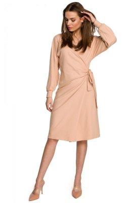 S267 Dzianinowa sukienka wiązana na boku - beżowa