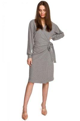 S267 Dzianinowa sukienka wiązana na boku - szara