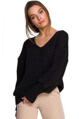 S268 Sweter w serek ze ściągaczem przy rękawach - grafitowy