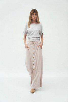 Beżowa długa spódnica z wiskozy - SP58