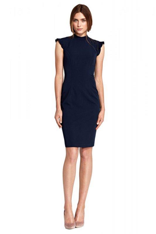 Sukienka z falbankami na ramionach - granat - S102