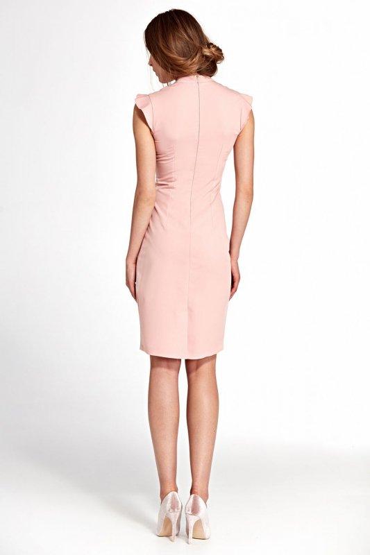 Sukienka z falbankami na ramionach- róż - S102