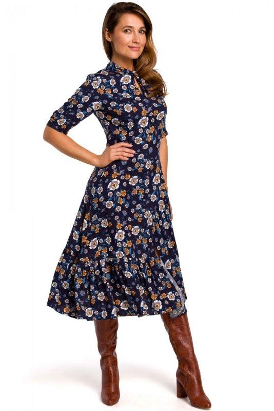 S177 Sukienka midi w kwiaty - model 2