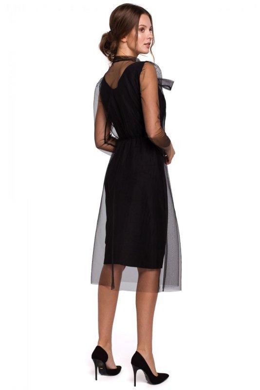 K039 Sukienka tiulowa z wiązaniem przy szyi - czarna