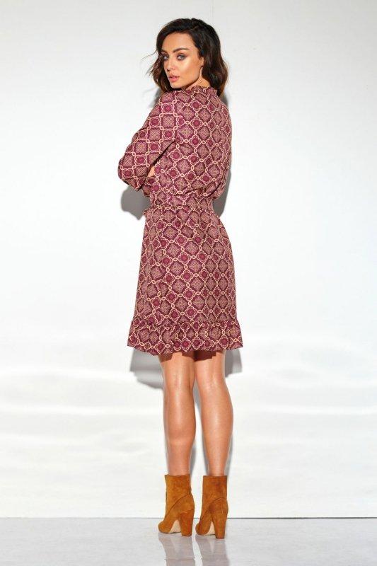 Sukienka z falbanką i wiązaniem przy szyi wzór LG509 druk 7