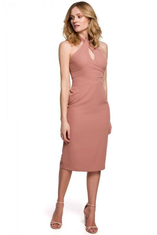 K043 Sukienka wiązana wokół szyi - różana