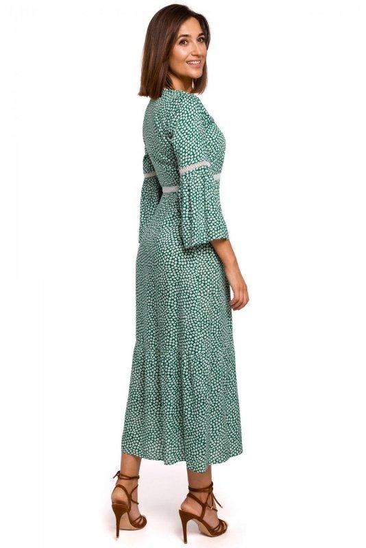 S222 Sukienka maxi w kwiaty z koronkowymi wstawkami - model 1