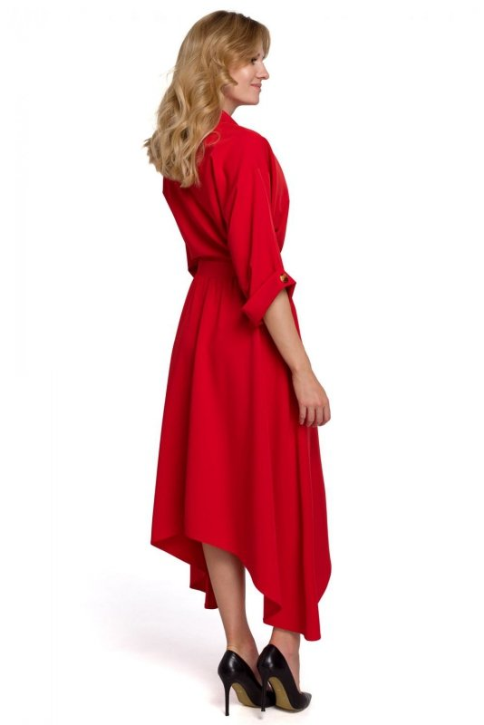 K086 Sukienka z asymetrycznym dołem - czerwona