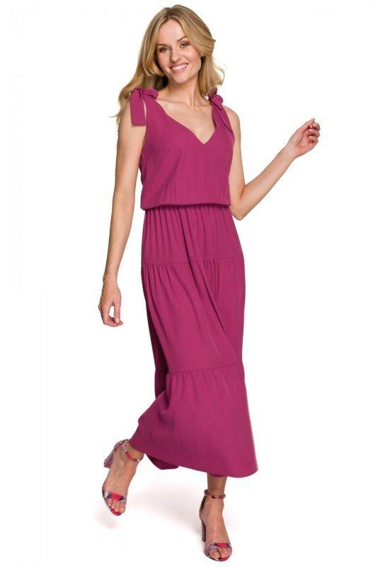 K092 Sukienka z wiązanymi ramiączkami - śliwkowy