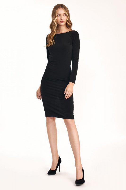 Czarna sukienka z wycięciem na plecach - S191