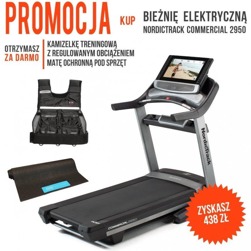 Bieżnia Elektryczna NordicTrack Commercial 2950 + Mata ochronna + Kamizelka z obciążeniem + Roczne członkostwo iFit