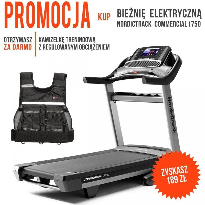 Bieżnia Elektryczna NordicTrack 1750 Commercial + Kamizelka z obciążeniem + Roczne członkostwo iFit