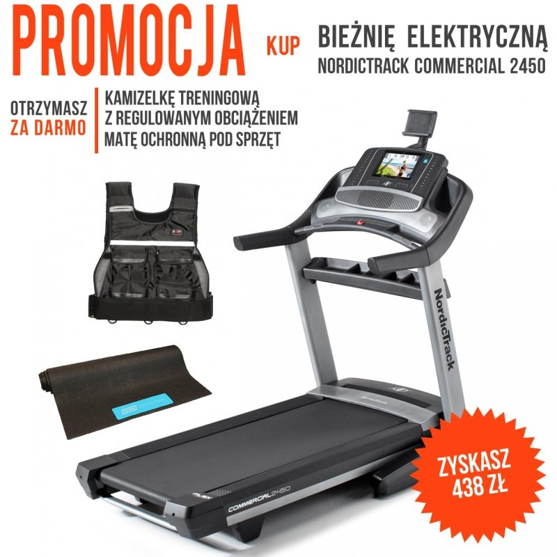 Bieżnia Elektryczna NordicTrack Commercial 2450 + Mata ochronna + Kamizelka z obciążeniem + Roczne członkostwo iFit