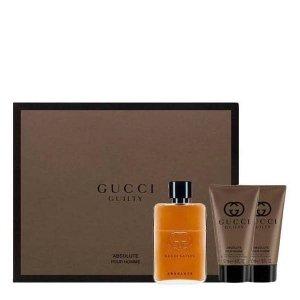 Gucci GUILTY ABSOLUTE Zestaw - Woda perfumowana 50 ml + Balsam po goleniu 50 ml + Żel pod prysznic 50 ml