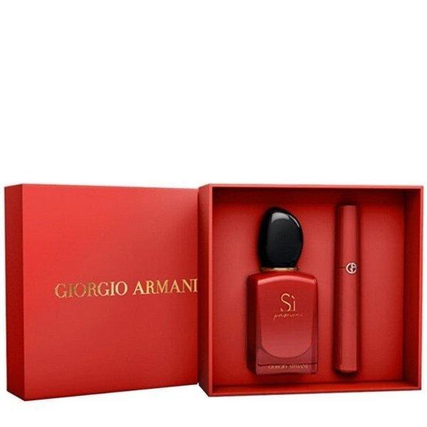 Giorgio Armani Si Passione Set - Eau de Parfum 50 ml + Lip Maestro Liquid Lipstick 6.5 ml Shade 405 Sultan