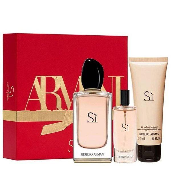 Giorgio Armani SI Set - Eau de Parfum 100 ml + Eau de Parfum 15 ml + Body Lotion 75 ml