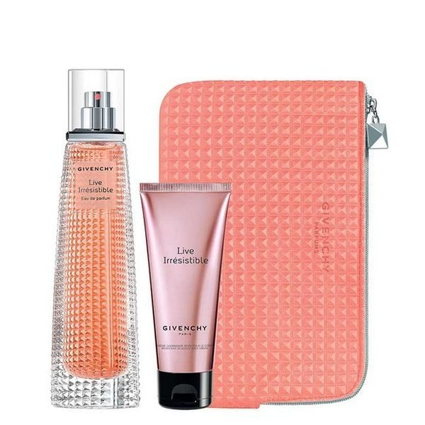 Givenchy Live Irresistible Set - Eau de Parfum 75 ml + Body Lotion 75 ml + Pouch
