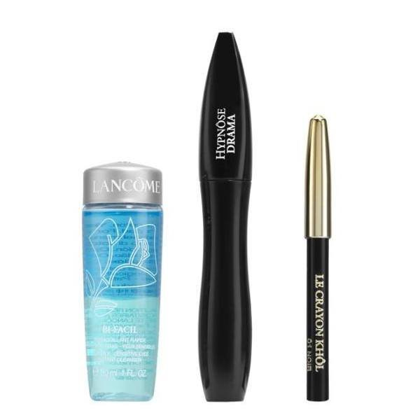Lancome Set - Mascara Hypnose Drama 01 Excessive Black 6,5 ml + Crayon Kohl 01 Noir 0.7 g  + Make-up remover Bi-Facil 30 ml