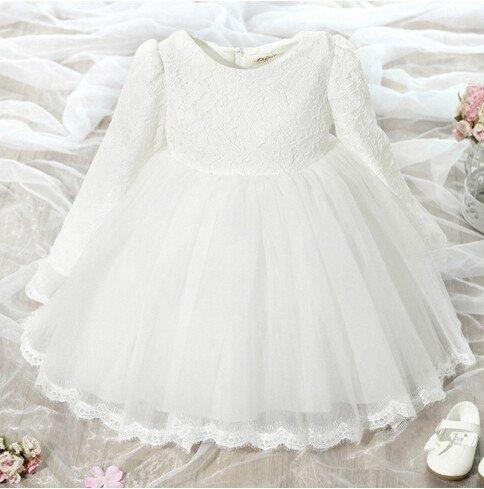 Wytworna Sukienka Z Rękawkiem Biała Wizytowe Eleganckie Sukienki Dla Dziewczynek Dla Dziewczynki