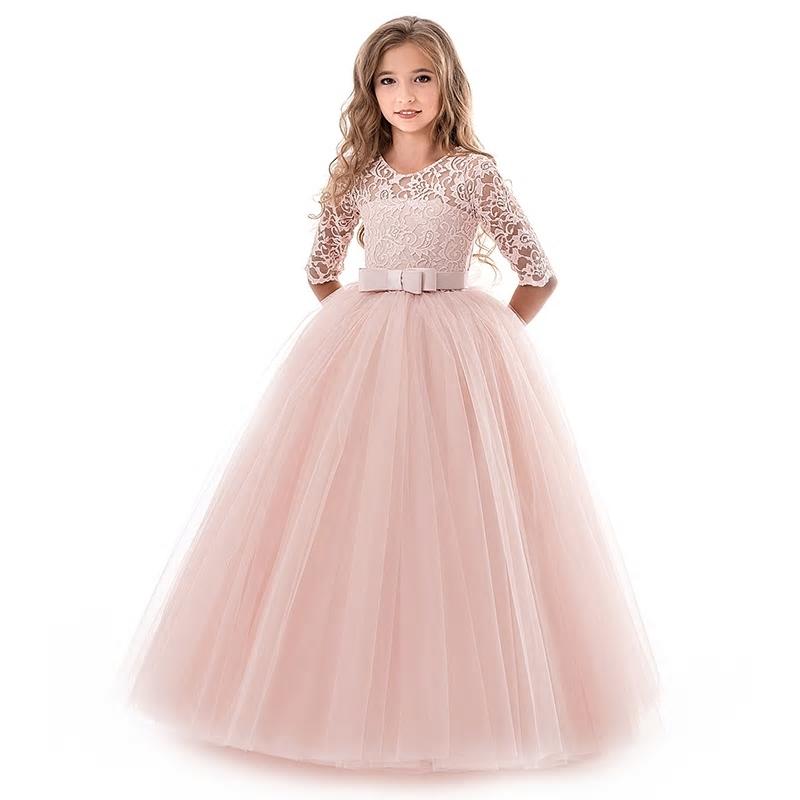 Sukienka Suknia z rękawkiem różowa